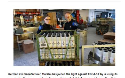 Marabu produz desinfetantes e doa para hospitais locais na Alemanha